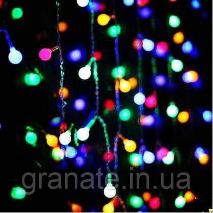 Гирлянда Бахрома Шарики 3х0.7 м,  разноцветная, 120 лампочек, 8 режимов