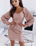 Платье женское пайетка на трикотажной основе с длинным рукавом до 46 размера