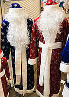 Новогодний костюм Деда Мороза Принт Снежинка красный.
