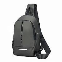 Молодежный рюкзак на одно плечо с выводом для  USB кабеля, серый, фото 1