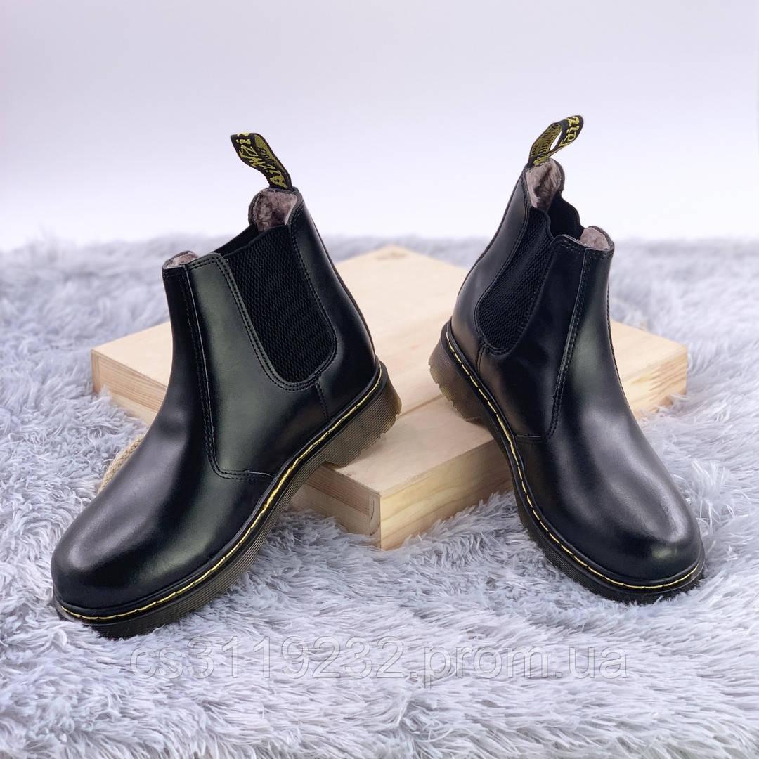 Женские ботинки зимние Dr.Martens Chelsea Black Хутро   (мех) (черный)