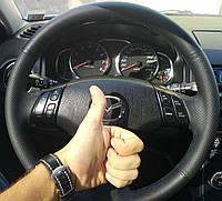 Оплетка на руль Мазда 6 (Mazda 6) 2002-2008 из натуральной кожи Vero
