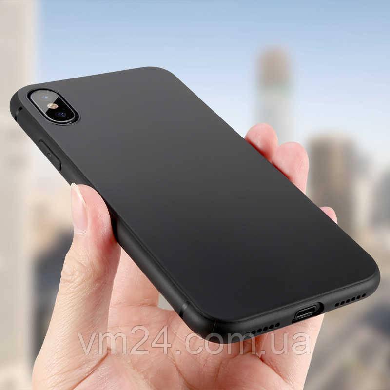 Чехол-накладка ультратонкий 0.3mm для Apple iPhone XS\ X силиконовый матовый (черный)