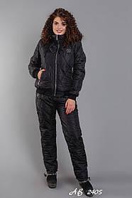 Костюм зимний женский на овчине Штаны Черные Куртка Черная Большого размера