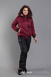 Костюм зимний женский на овчине Штаны Черные Куртка Бордо Большого размера