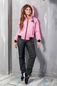 Костюм зимний 2ка Куртка Розовая  Штаны Черные