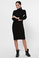 Женское вязаное черное платье до колена, фото 1