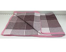 Покрывало Vladi хлопковое летнее клетка 170*210 двуспальное розовое оптом