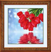 Набор для рисования камнями (холст) 5D Тюльпаны над водою LasKo