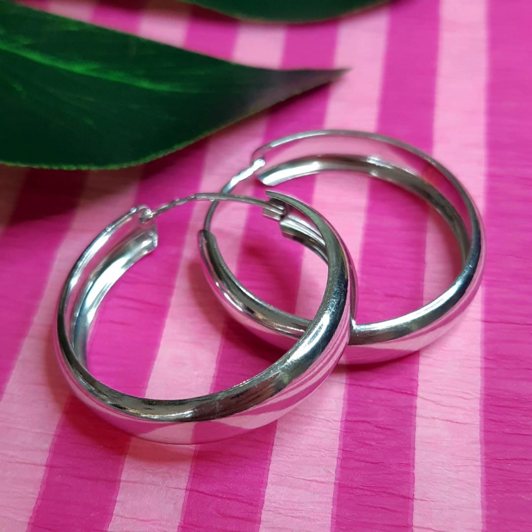 Серебряные широкие серьги-конго диам. 30 мм - Серьги-кольца широкие серебро диам. 3 см
