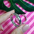 Серебряные широкие серьги-конго диам. 30 мм - Серьги-кольца широкие серебро диам. 3 см, фото 3
