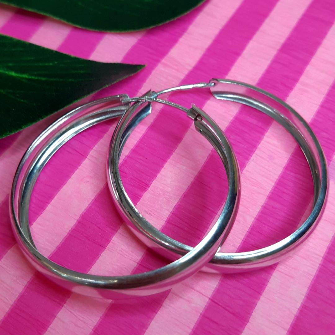 Серебряные широкие серьги-кольцами диам. 40 мм - Широкие серьги-конго серебро диам. 4 см