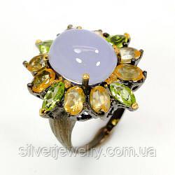 Серебряное кольцо с ХАЛЦЕДОНОМ, ЦИТРИНОМ, ХРИЗОЛИТОМ (натуральный), серебро 925 пр. размер 17,75