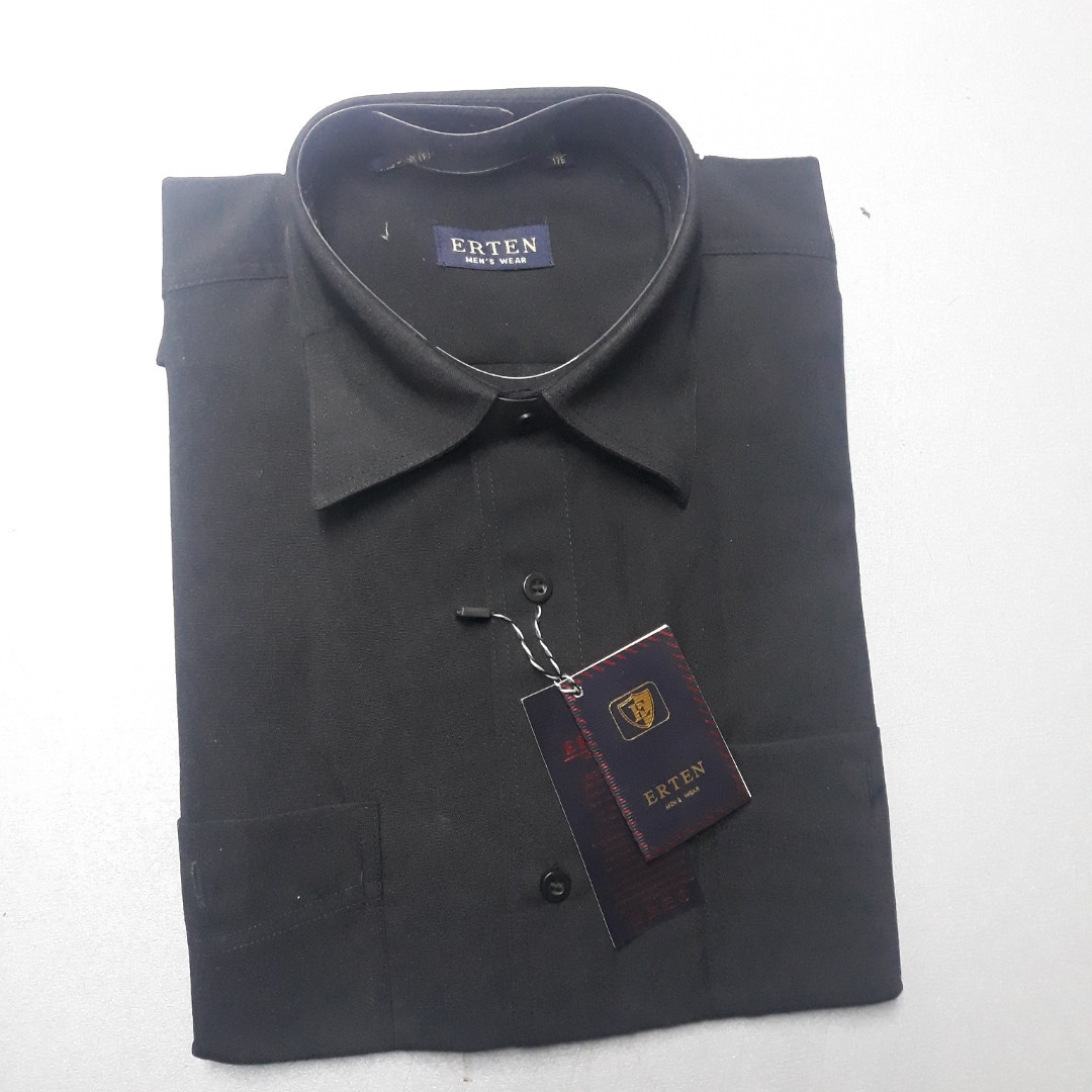 Черная рубашка рубашка ERTEN 100% хлопок (размеры 39)