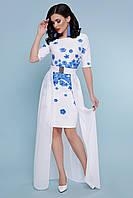 Нарядное женское платье с принтом голубые цветы и сьемным шлейфом Кейтлин