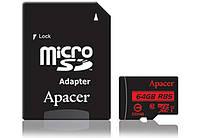 Карта памяти microSDXC 64Gb Apacer UHS-I U1 (+ adapter SD) (R85MB/s) (AP64GMCSX10U5-R)