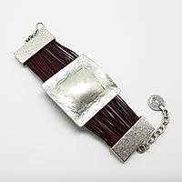 Браслет натуральная кожа, серебряное покрытие