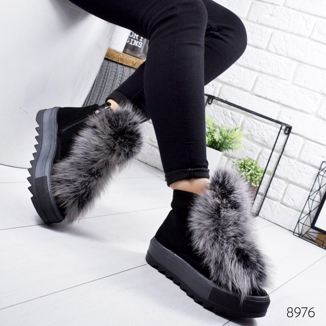 """Ботинки женские зимние, черного цвета из натуральной замши """"8976"""". Черевики жіночі. Ботинки теплые"""