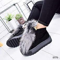 """Ботинки женские зимние, черного цвета из натуральной замши """"8976"""". Черевики жіночі. Ботинки теплые, фото 2"""