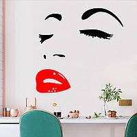 3D интерьерные виниловые наклейки на стены Женское лицо с красными губами 59-56 см в детскую - в салон красоты