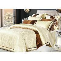 Светлый евро комплект постельного белья из натурального сатина жаккард Tiare с рисунком
