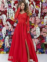 Шелковое длинное платье с гипюровым верхом, 00181 (Красный), Размер 46 (L)