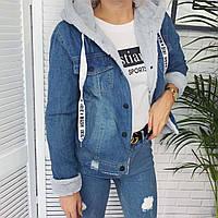 """Куртка женская джинсовая с капюшоном на меху размеры L-XL (3 цв.) """"Zeo Basic"""" недорого от прямого поставщика"""