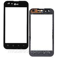 Сенсорный экран (тачскрин) LG P970 Optimus чёрный high copy
