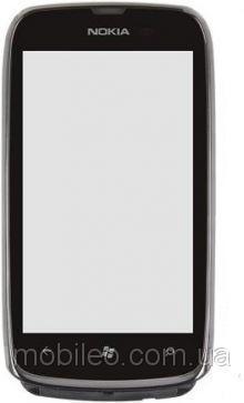 Сенсорный экран (тачскрин) Nokia 610 Lumia с рамкой серый ориг. к-во