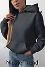Женский зимний батник с карманами черный белый хаки меланж кемэл фрез 42-44 44-46, фото 3