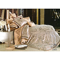Евро комплект постельного белья в сером цвете из сатина жаккард Tiare