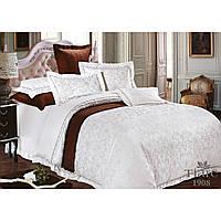 Белый евро комплект постельного белья из сатина жаккард Tiare с серым рисунком