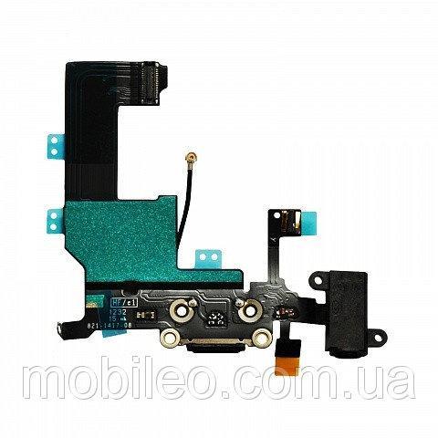 Шлейф для Apple iPhone 5c с гнездом зарядки, коннектором наушников и микрофоном, чёрный