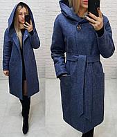 Утеплённое кашемировое пальто на утеплителе с капюшоном,арт 176, цвет  синий джинс (3)
