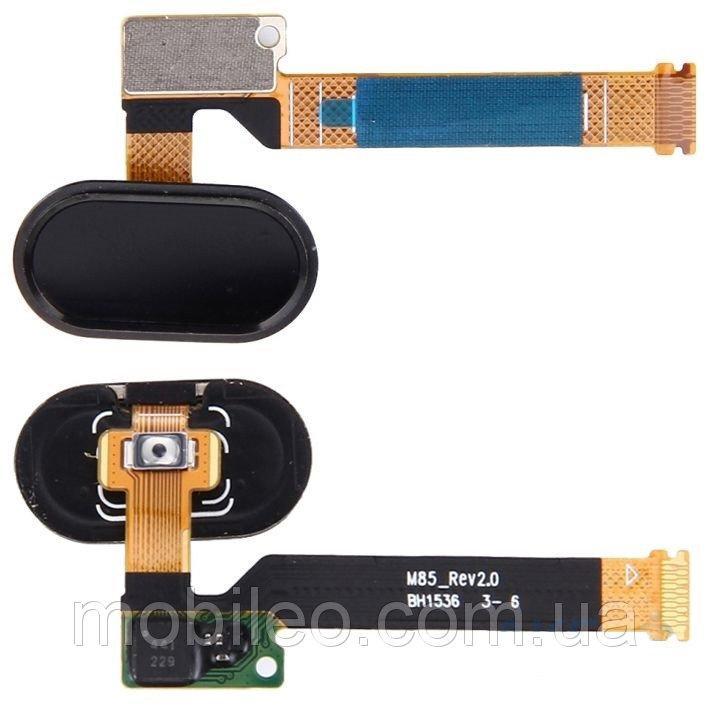 Шлейф для Meizu MX5 Pro, с кнопкой меню (Home) чёрная