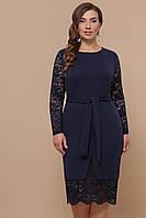 Нарядное темно-синее однотонное платье с кружевными рукавами и с пояском большие размеры Марика-Б д/р