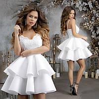 Роскошное короткое женское платье пышная юбка и верх с отделкой из гипюра на тонких бретельках 42, 44, 46