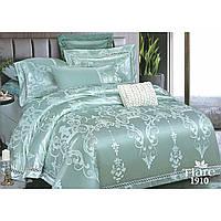 Евро комплект постельного белья из сатина жаккард Tiare в светло бирюзовом цвете