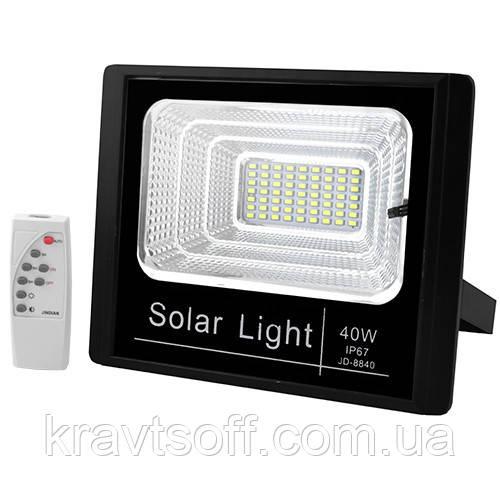 Прожектор JD-8840 40W SMD, IP67, солнечная батарея, пульт ДУ, встроенный аккумулятор