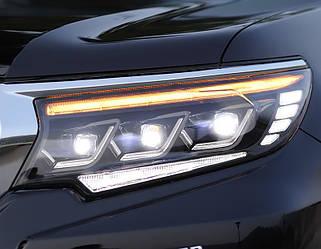 Передние фары Toyota Prado 150 (2018+) тюнинг Full Led оптика стиль Lexus