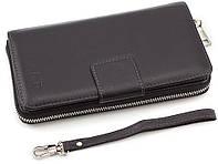 Шкіряний чоловічий гаманець клатч для грошей і документів на магнітній застібці MD