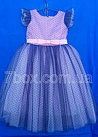 Детское платье бальное Горошки Возраст 5-6 лет.Лиловое Опт и Розница, фото 1
