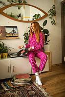 Пижама флисовая с сердечками женская малиновая XS-S