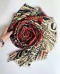 Палантин шерстяной 10749-5, павлопосадский шарф-палантин шерстяной (разреженная шерсть) с осыпкой, фото 9