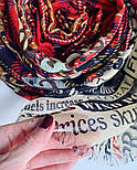 Палантин шерстяной 10749-5, павлопосадский шарф-палантин шерстяной (разреженная шерсть) с осыпкой, фото 5