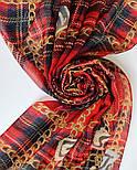 Палантин шерстяной 10749-5, павлопосадский шарф-палантин шерстяной (разреженная шерсть) с осыпкой, фото 7