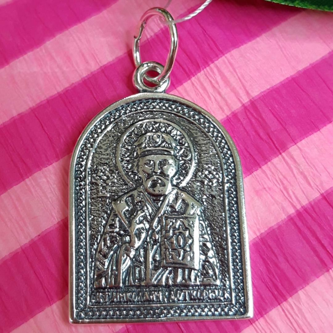 Серебряный кулон Николай Чудотворец - Ладанка Святой Николай из серебра
