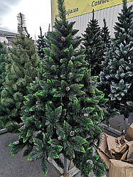 Ялинка новорічна, штучна елітна з шишками 2,5 М (САЛАТОВА, БІЛЕ НАПИЛЕННЯ)