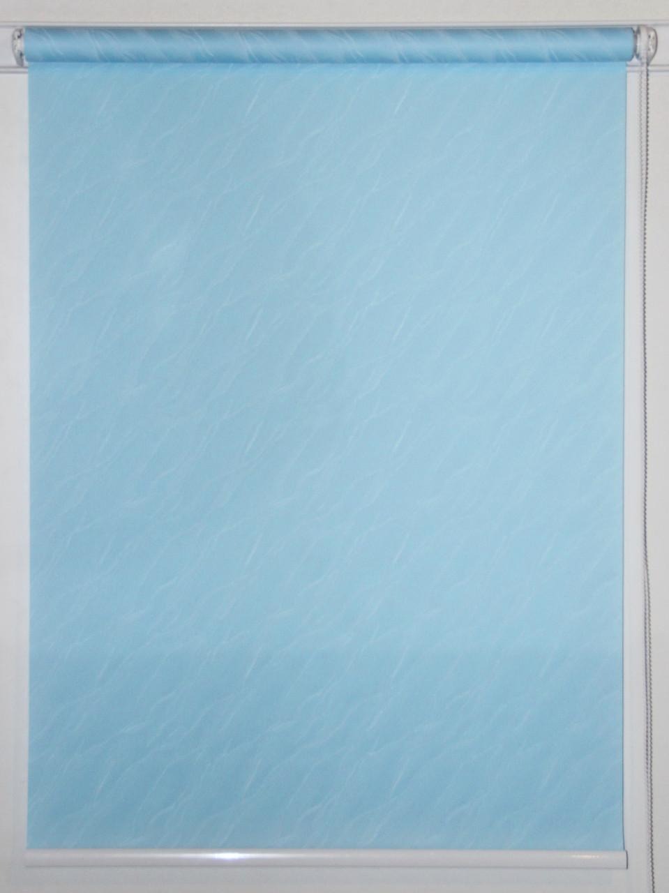 Готовые рулонные шторы 800*1500 Ткань Вода 1840 Голубой