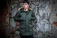 Куртка парку чоловіча зимова тепла якісна оливкова HotWint + бафф флісовий в подарунок, фото 1